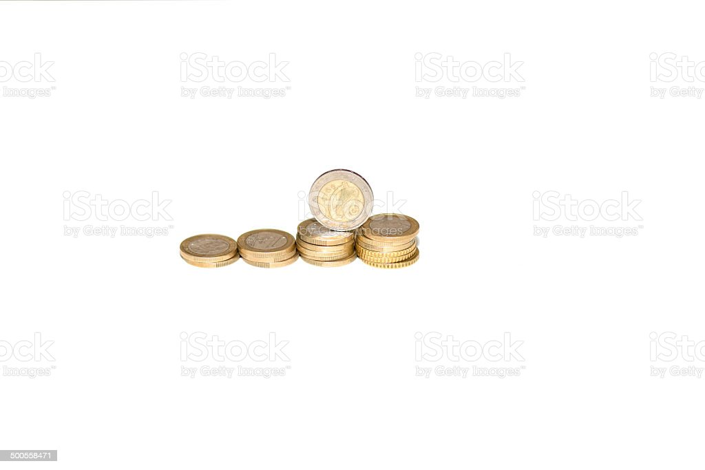 Coins: euros stack of Coins - isolated on white. Abundance Stock Photo
