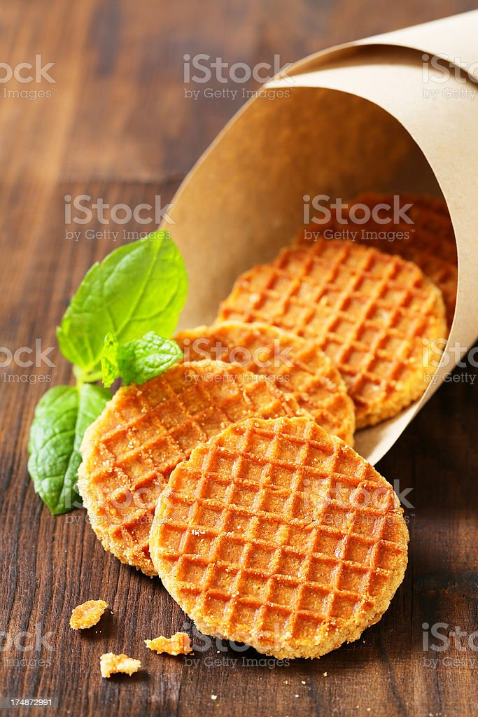 cornet of butter waffles royalty-free stock photo