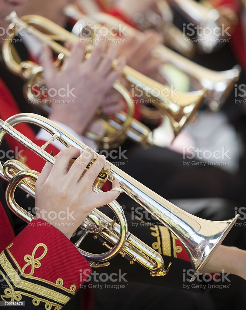 Cornets in a Brass Band stock photo