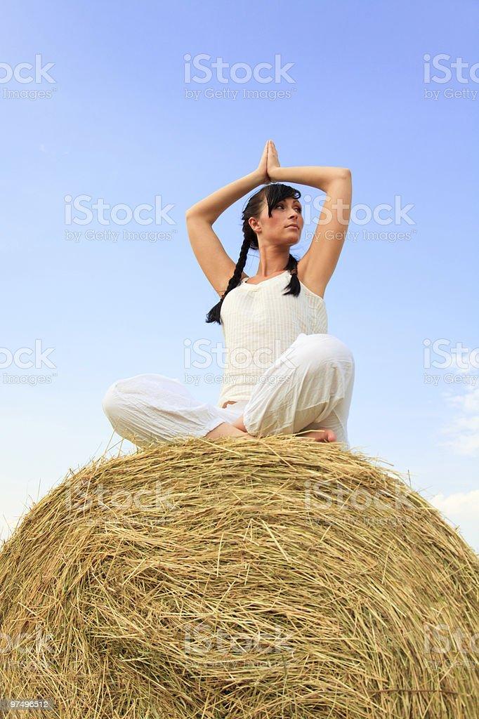 cornfield natural yog woman royalty-free stock photo