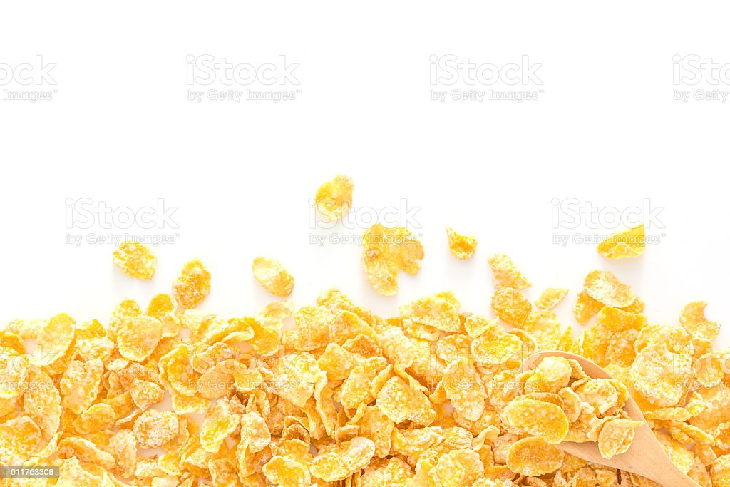 cornflakes background with copy space over white background. stock photo