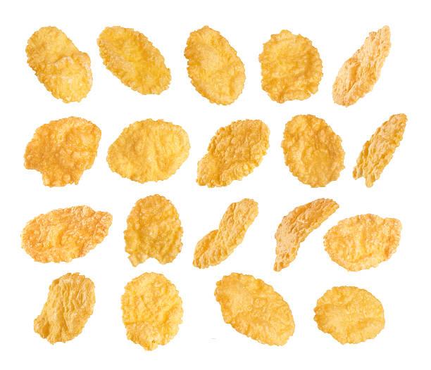cornflakes aislado sobre fondo blanco. - corn flakes fotografías e imágenes de stock
