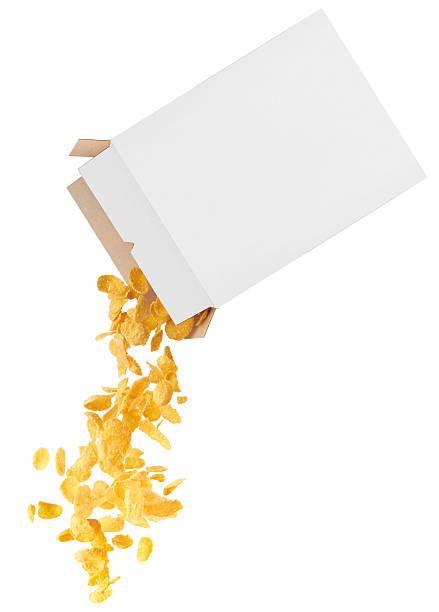 corn flakes (copos de strewed de caja - corn flakes fotografías e imágenes de stock