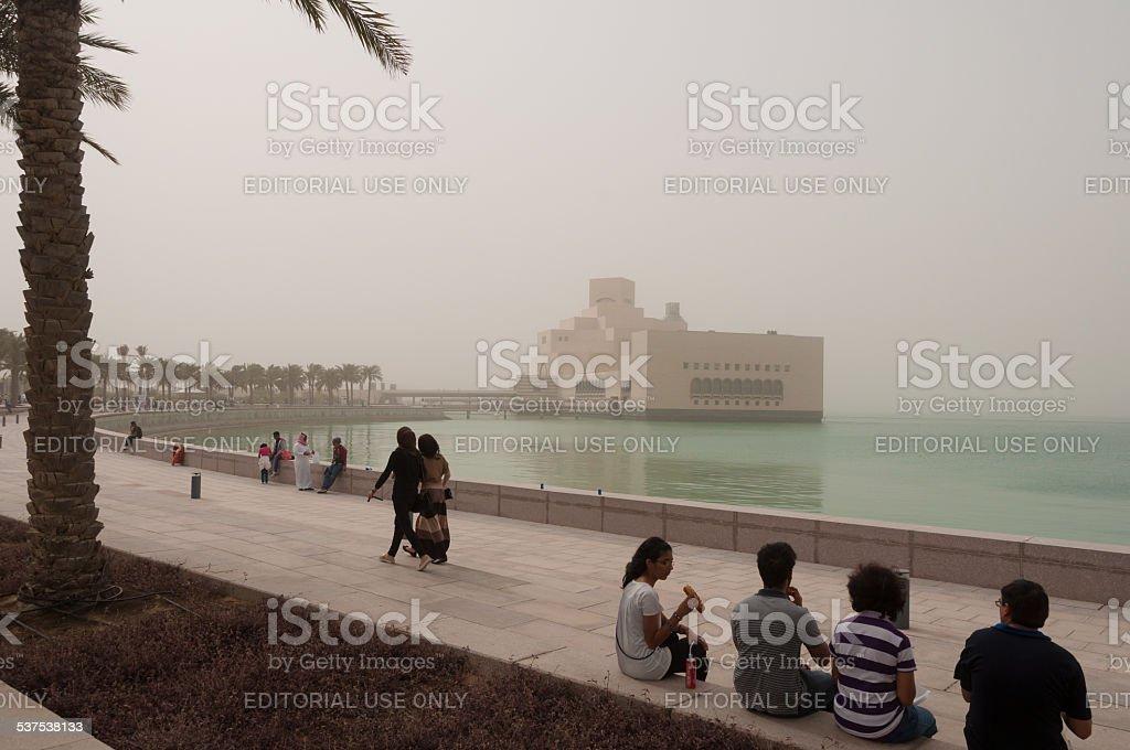 Corniche and MIA in a sandstorm, Doha, Qatar stock photo