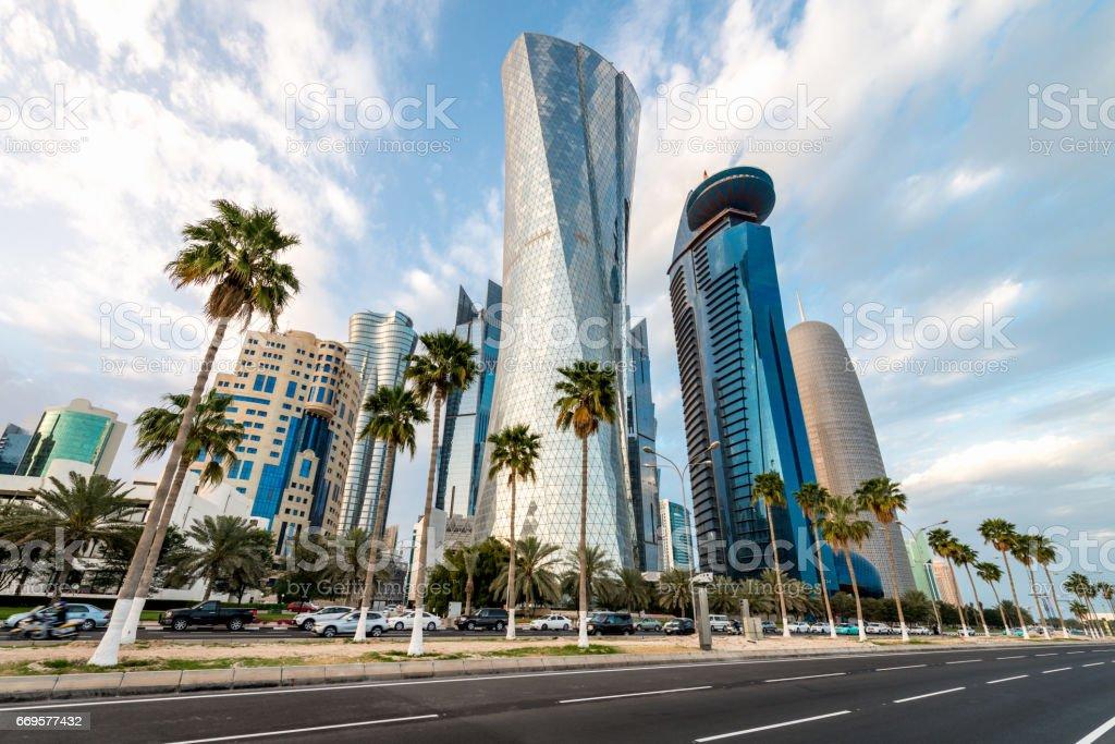 Corniche Doha Skyscraper Cityscape Doha Qatar stock photo
