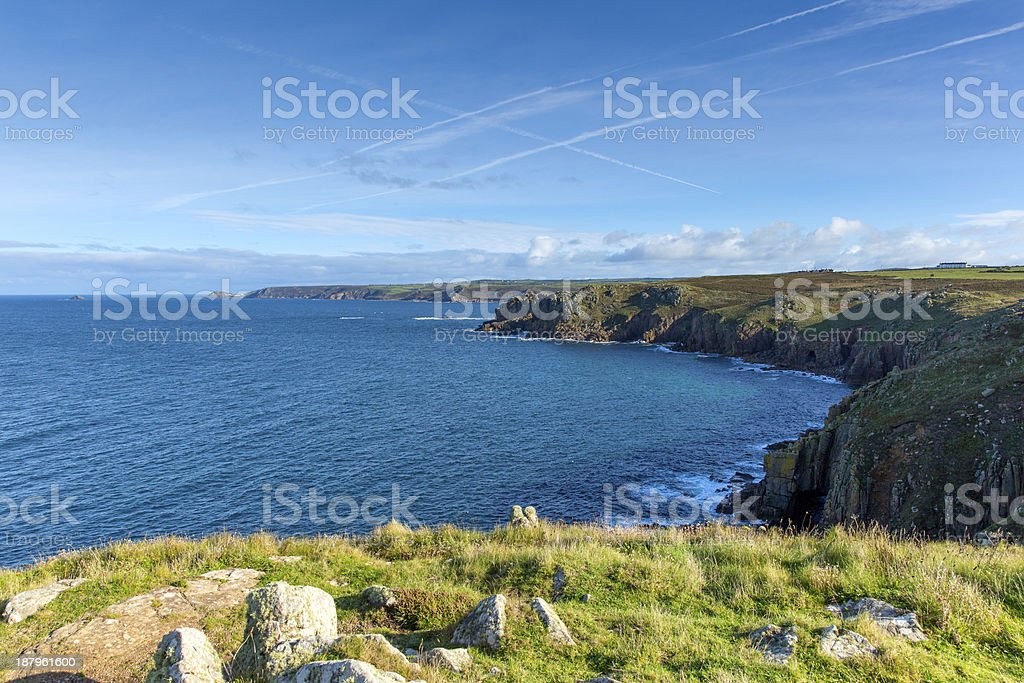 Cornish coast from Lands End Cornwall England towards Sennen stock photo