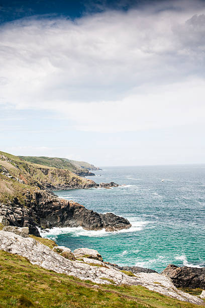 cornish coast views west from st. ives cornwall - cornwall stock pictures, royalty-free photos & images