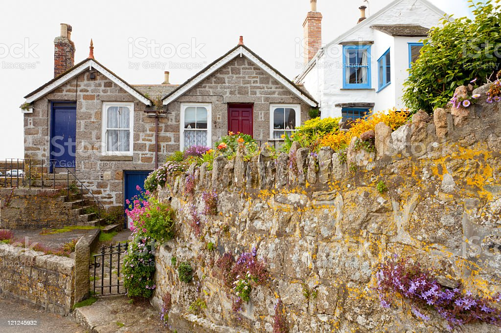 Cornish Cottages in Mousehole royalty-free stock photo