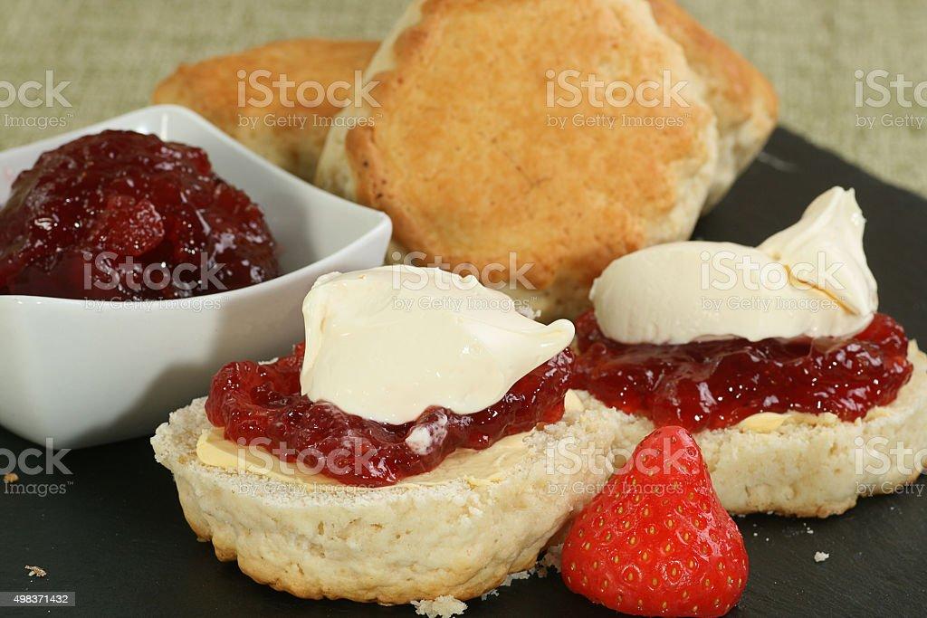 cornish cream scone stock photo