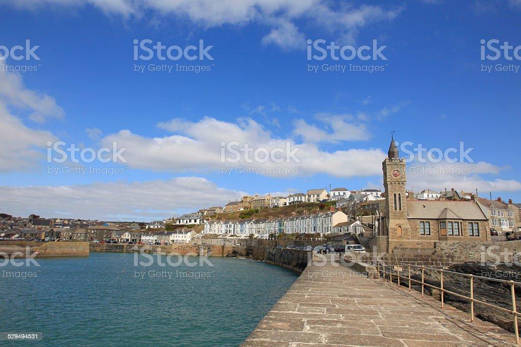 Cornish fishing harbor England stock photo