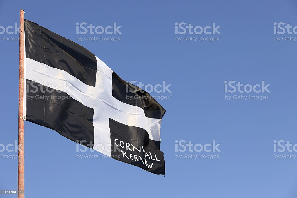 Cornish flag waving in the wind stock photo