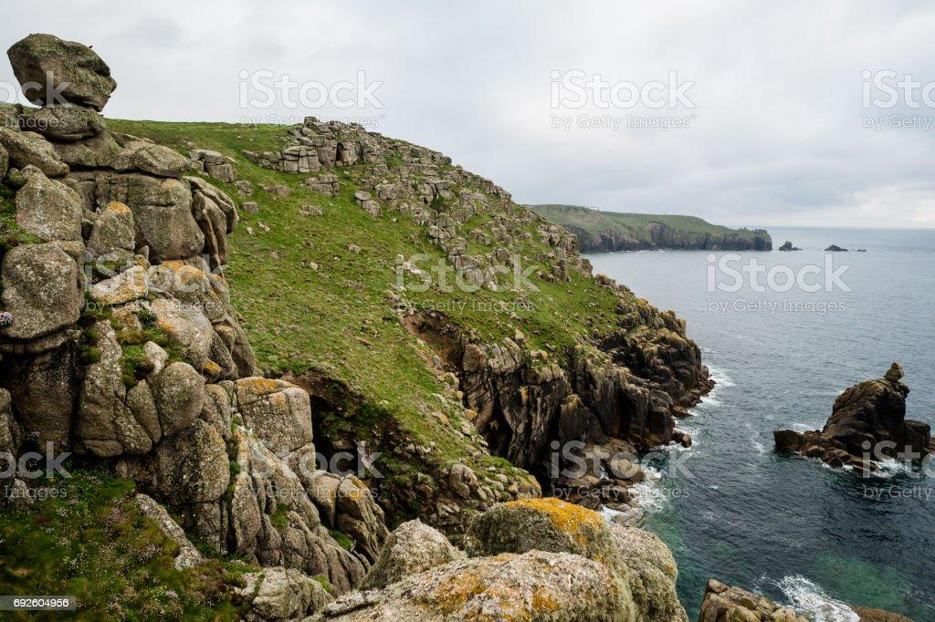Cornish granite cliffs stock photo
