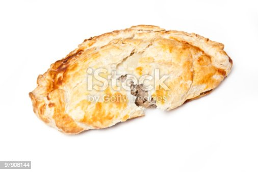 Cornish Pastry Isolated On A White Background Stock Photo & More Pictures of Color Image