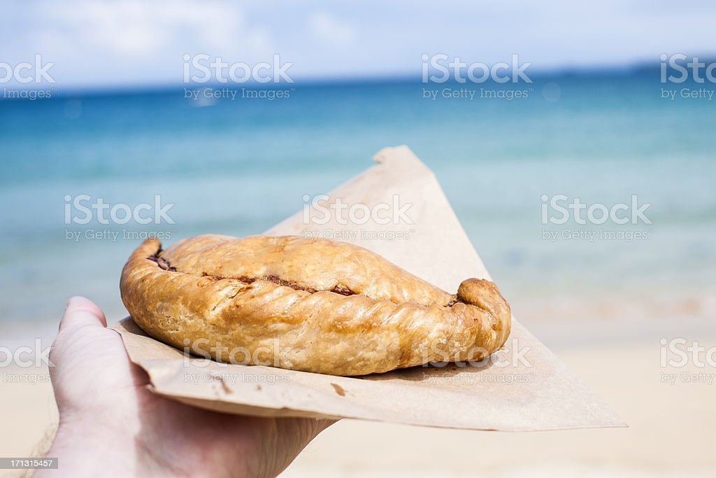 Cornish Pasty at the Beach in St Ives Cornwall stock photo
