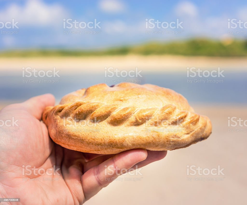 Cornish Pasty on a Padstow Beach stock photo