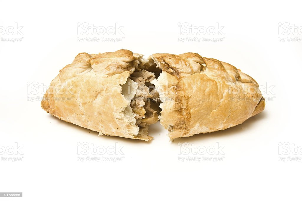 Cornish pasty on a white background. stock photo