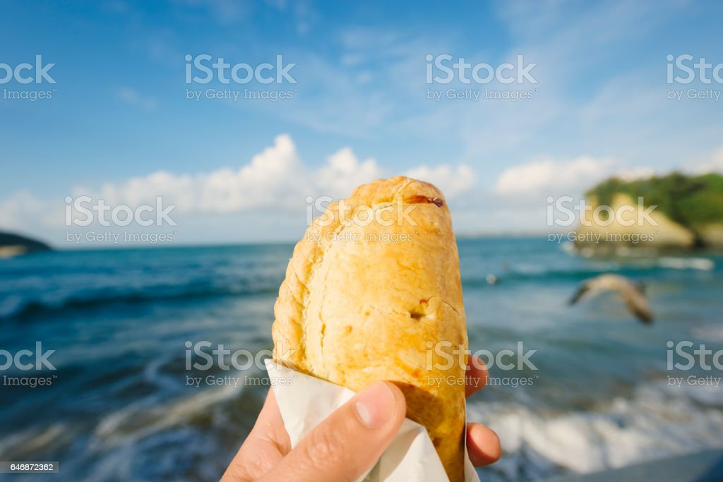 Cornish Pasty Over Newquay, Cornwall on a Sunny September day. stock photo