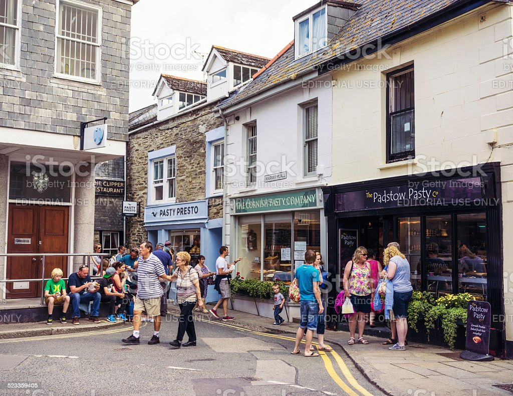 Cornish Pasty Shops in Padstow stock photo