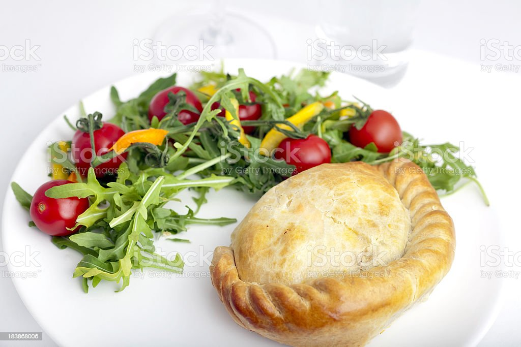 Cornish Pasty with salad stock photo