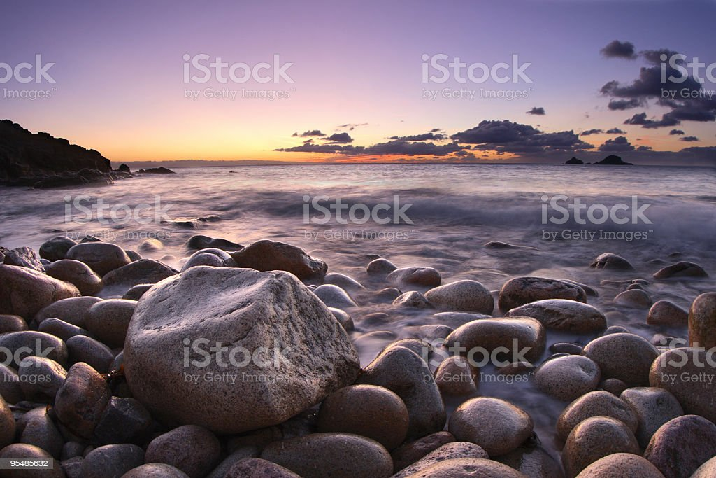 Cornish Seascape at Sunset royalty-free stock photo