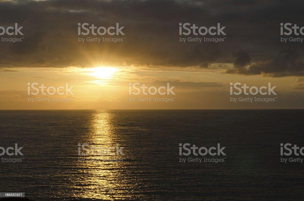 Cornish sunset at polzeath, UK royalty-free stock photo