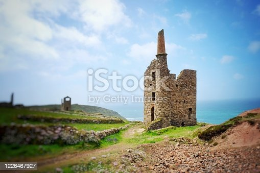 Wheal Owles, a 19th century tin mine on the north Cornish coast, Botallack, Cornwall, UK