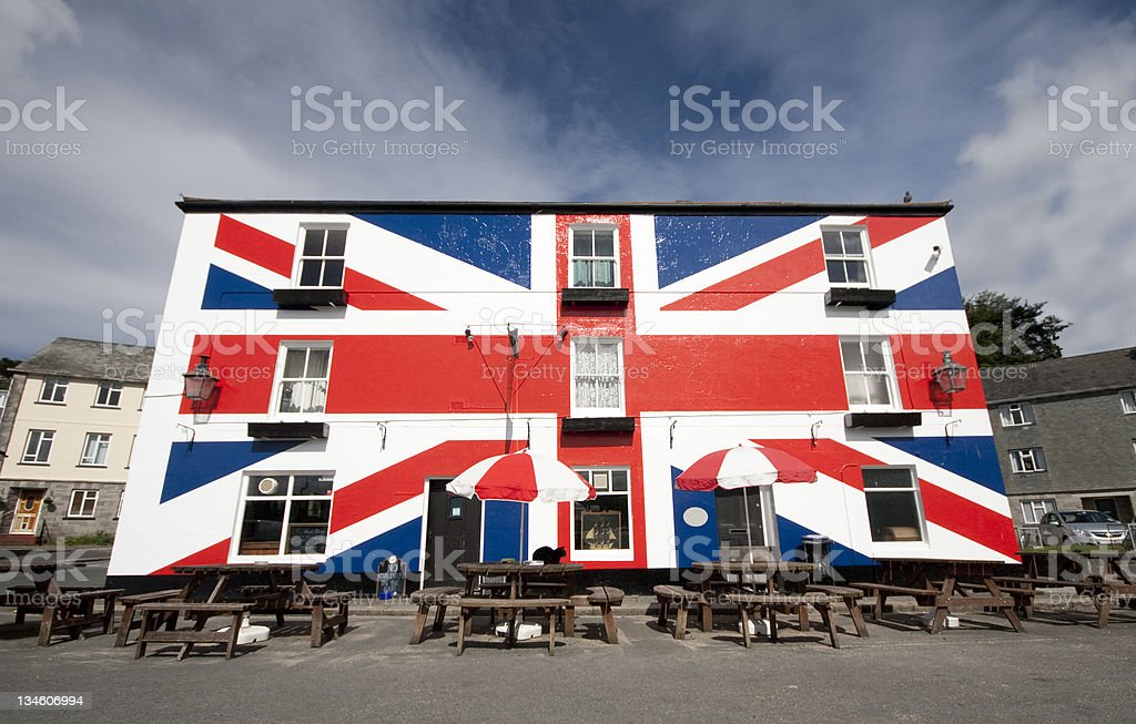 Cornish Town Pub in England stock photo