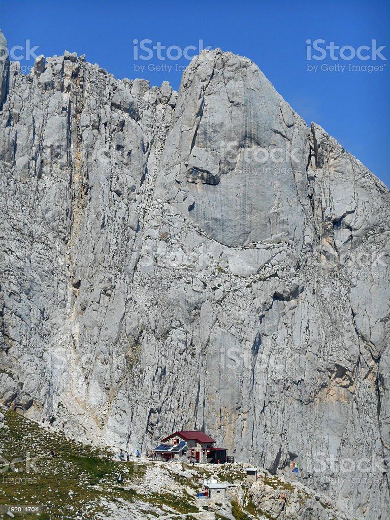 Corno Piccolo of Gran Sasso and Rifugio Franchetti stock photo