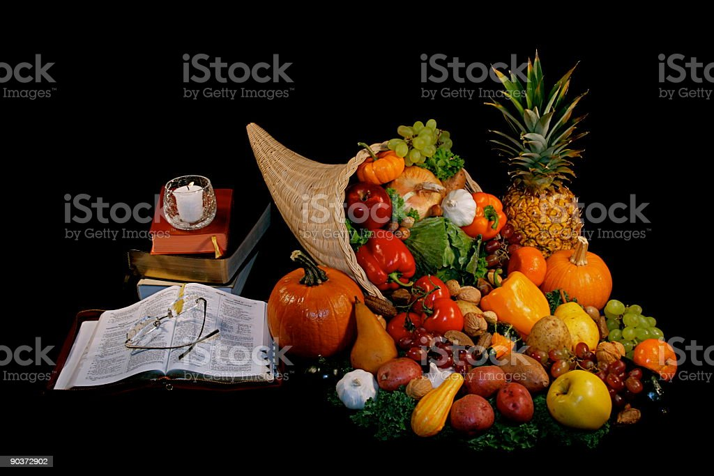 Cornucopia Bible Books With Candle & Reading Glasses royalty-free stock photo