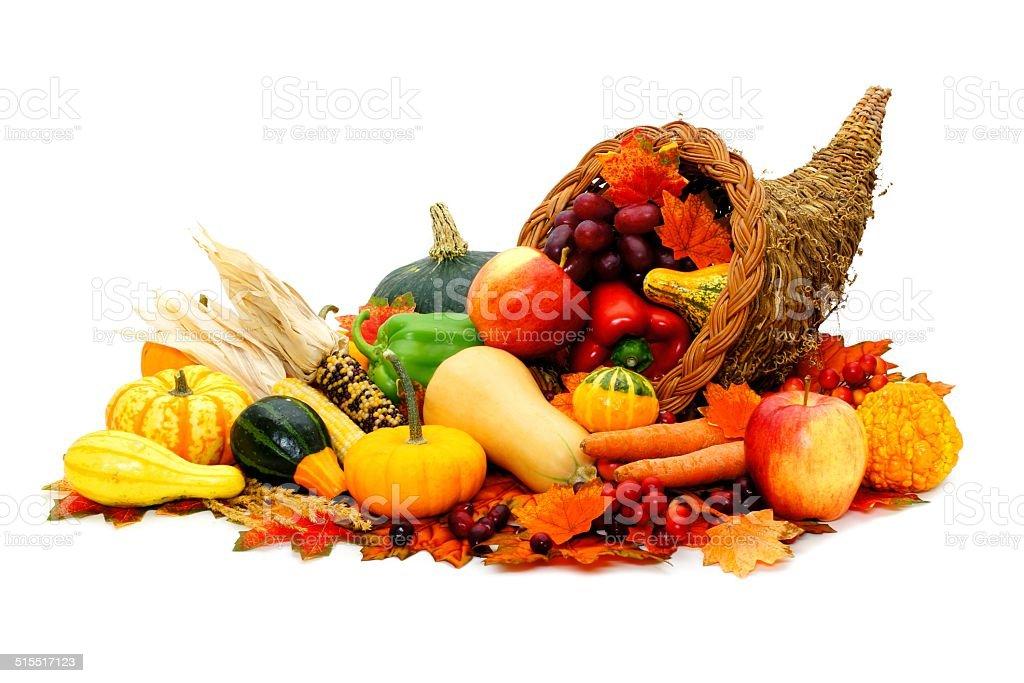 Cornucopia filled with harvest vegetables stock photo
