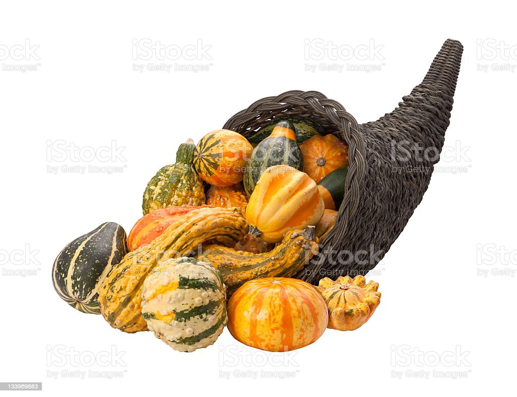 Cornucopia Full of Gourds with clipping path royalty-free stock photo