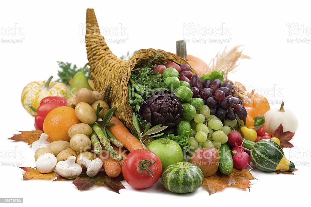 A cornucopia of the colorful, seasonal food of autumn stock photo