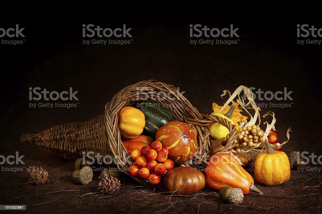 Cornucopia with pumpkins stock photo
