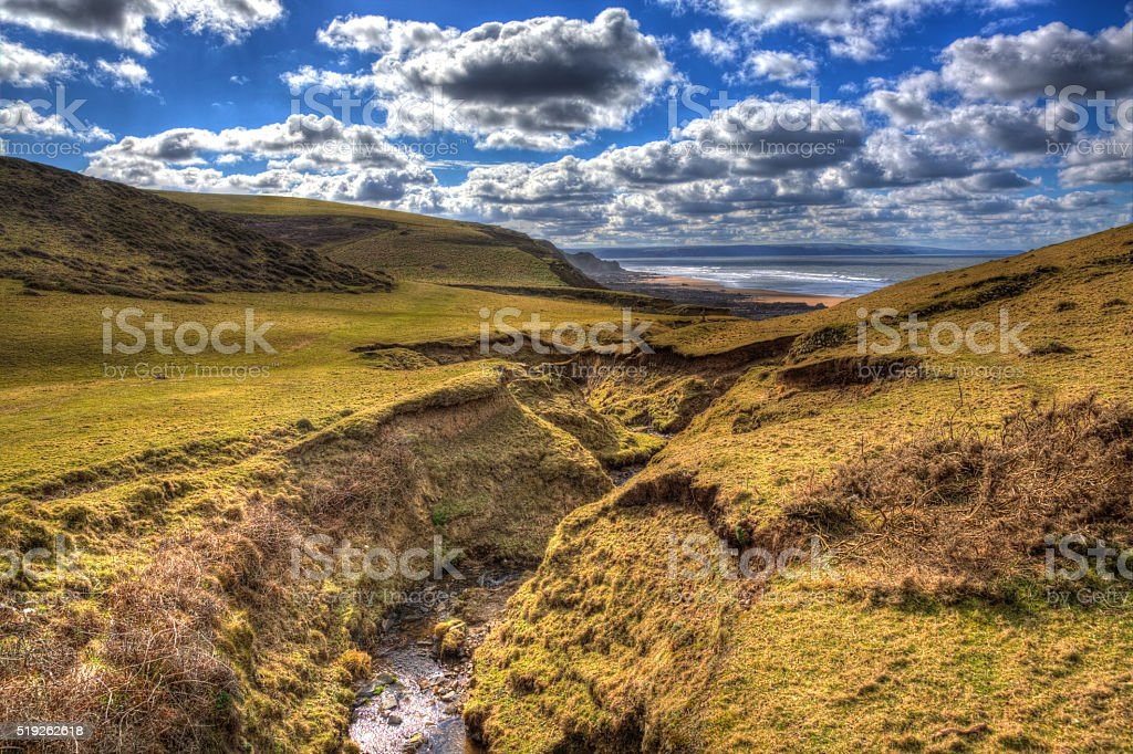 Cornwall countryside Sandymouth coast England UK in colourful HDR stock photo