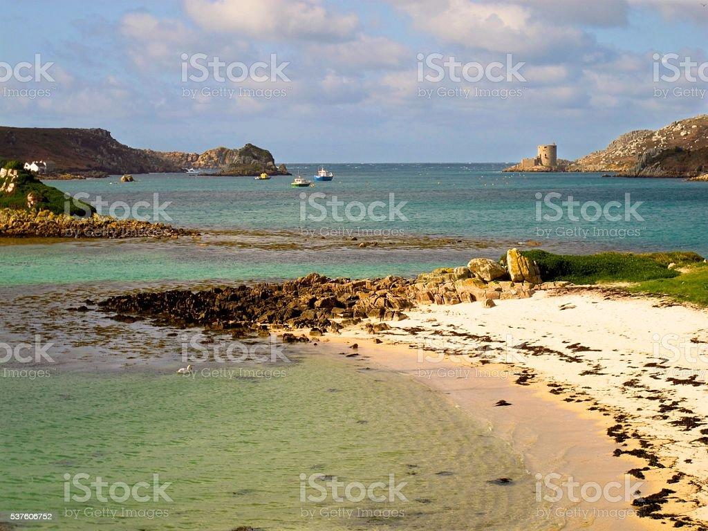 Cornwall England beach, Cromwell's Castle, Tresco, Isles of Scilly stock photo