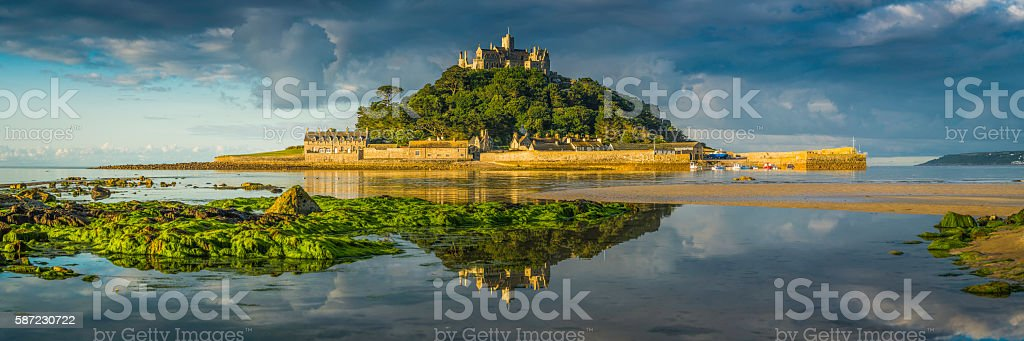 Cornwall St Michaels Mount ocean island summer sunrise panorama UK stock photo