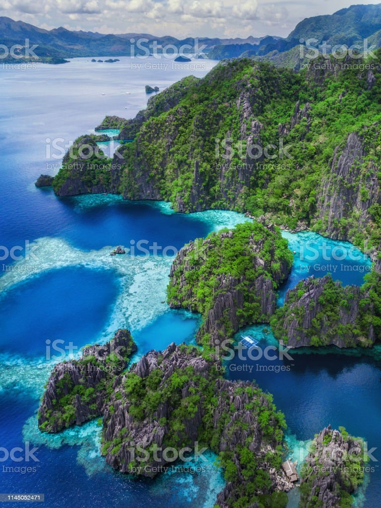 Coron Island Palawan Philippines Aerial View Of Lakes And