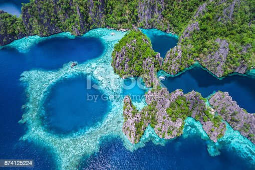 istock Coron, Palawan, Philippines, Aerial View of Beautiful Lagoons and Limestone Cliffs 874125224