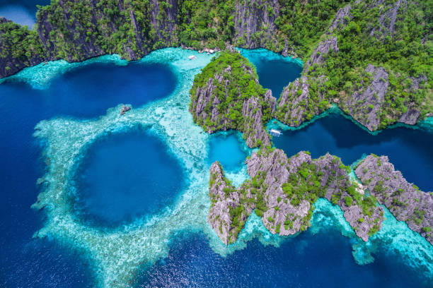 Coron, Palawan, Philippines, Aerial View of Beautiful Lagoons and Limestone Cliffs stock photo