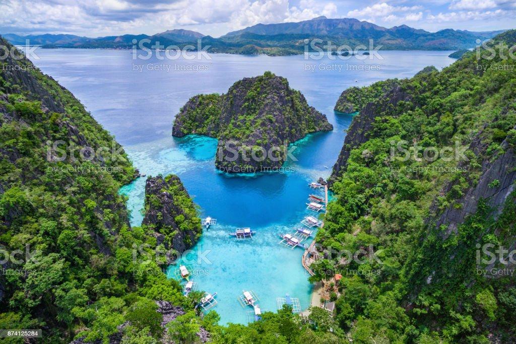 Coron, Palawan, Philippines, Aerial View of Kayangan Lake stock photo