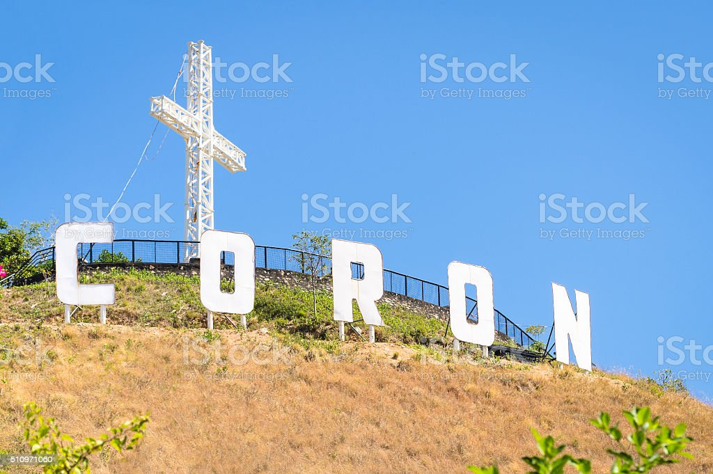 Coron sign with white letters on top of Mount Tapyas stock photo