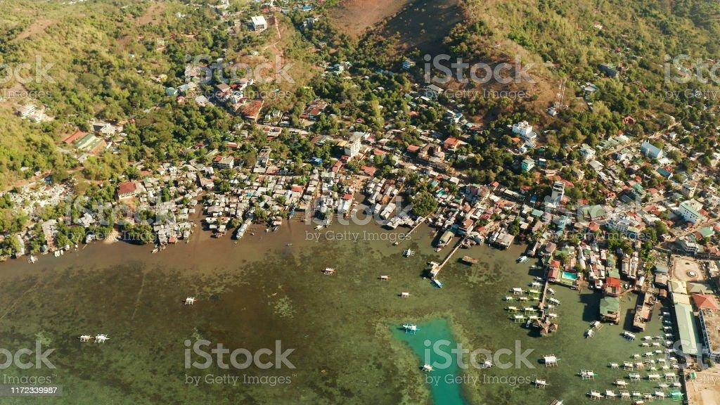 Coron Town Luftansicht. Philippinen, Palawan, Busuanga - Lizenzfrei Anhöhe Stock-Foto