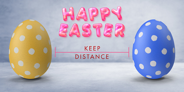 Easter in Corona virus days concept; colorful 2 easter eggs on gray background between keep distance and candy style vibrant pink happy easter text