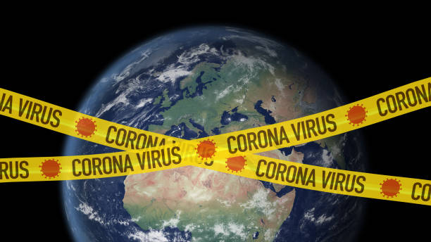 Corona virus cordon tape over africa and europe stock photo
