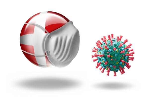 COVID-19 Corona Virus mit Blick auf Flagge von Dänemark mit Mundschutz – Foto