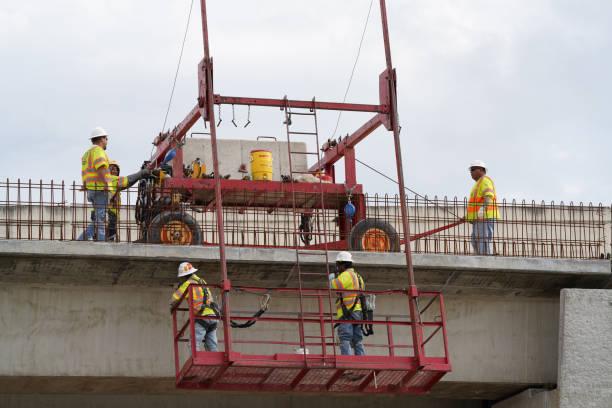 Corona Virus (COVID-19) - Houston Lockdown, Construction Work Essential Business during Lockdown stock photo