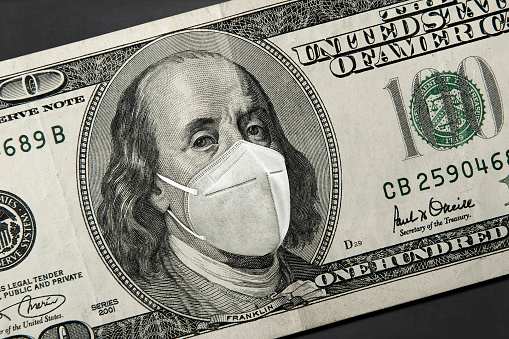 American President with a face mask against CoV Corona Virus infection.