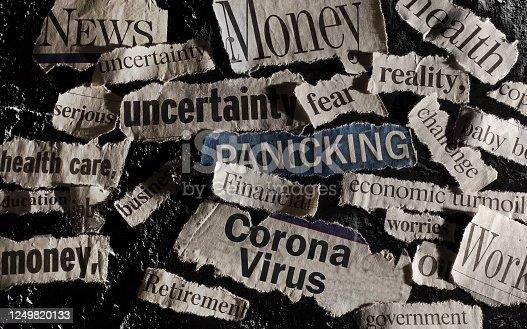 Corona Virus news with assorted related newspaper headlines surrounding it
