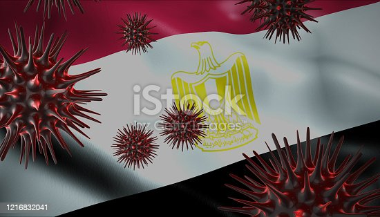 A coronavirus spinning with Egypt flag behind as epidemic outbreak infection in Egypt