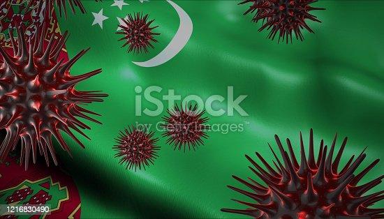 istock Corona Virus Outbreak with Turkmenistan Flag Coronavirus Concept 1216830490